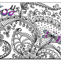 Joy 5x7 Card and Bookmark Doodle set