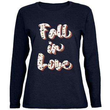 DCCKIS3 Autumn Fall in Love Leaves Pattern Womens Long Sleeve T Shirt