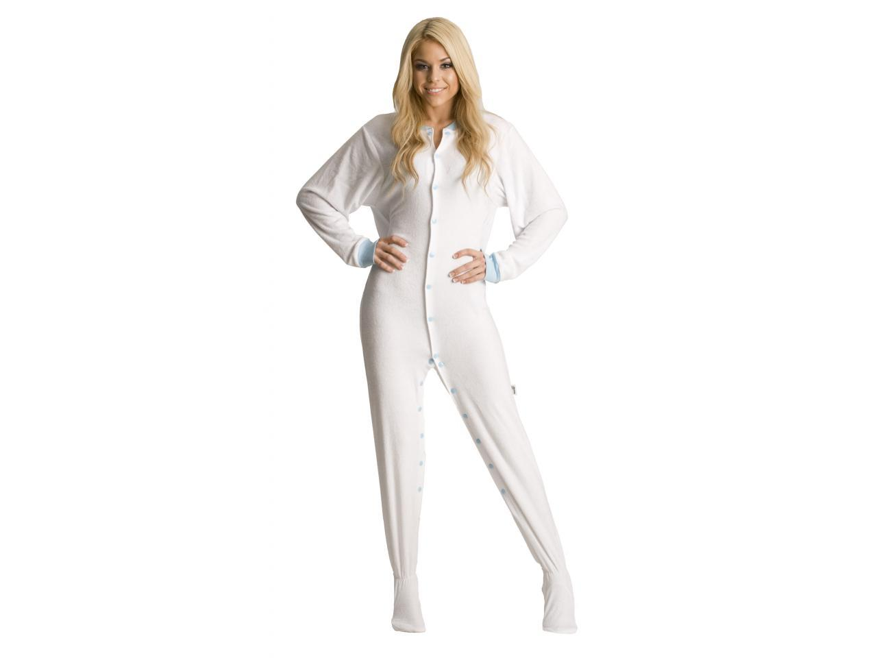 White Terry Cloth Adult Footed Pajamas from JumpinJammerz