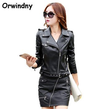 Women Leather Jacket PU Locomotive Leather Coat Outerwear 2017 Spring And Autumn Black Slim Fashion Clothing Girls XS-XL Suede