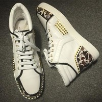 Cl Christian Louboutin Lou Spikes Style #2192 Sneakers Fashion Shoes - Best Deal Online