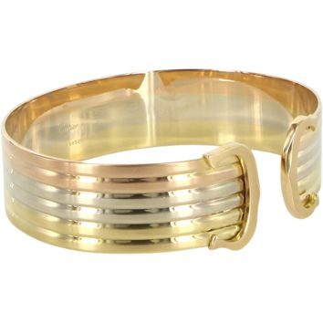 Cartier Double C 18 Karat Tri Gold Logo Vintage Bangle Bracelet