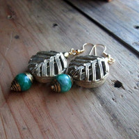 African Brass, Tibetan, Green Jade, Leaf Earrings, Tribal Brass, Ethnic Bead, Dangle Earrings, Green and Brass