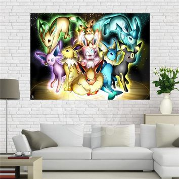 F629#9 Custom eevee Canvas Painting Wall Silk Poster cloth print DIY Fabric Poster Free Shipping #zhao!9
