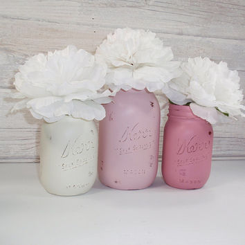 3- Hand Painted Mason Jars Flower Vases-Country Decor-Sweetheart Collection Three-Cottage Chic-Shabby Chic-French Chic