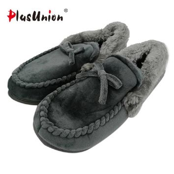 Men's Fur Bow Tie Slippers