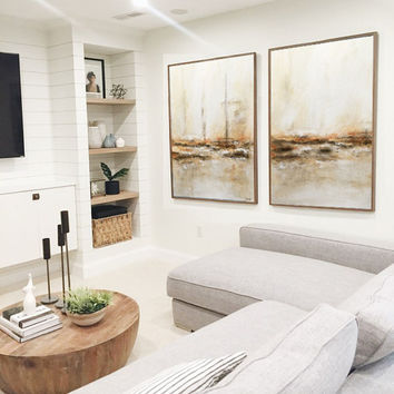 Abstract Art Extra Large Artwork Oil Painting Diptych Set of 2 Umber Sand Sienna Contemporary Design Painting by L.Beiboer