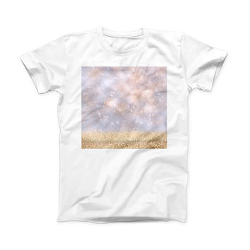 The Unfocused Glowing Lights with Gold ink-Fuzed Front Spot Graphic Unisex Soft-Fitted Tee Shirt