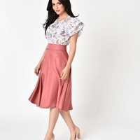 Unique Vintage Retro Style Dark Rose High Waist Vivien Swing Skirt