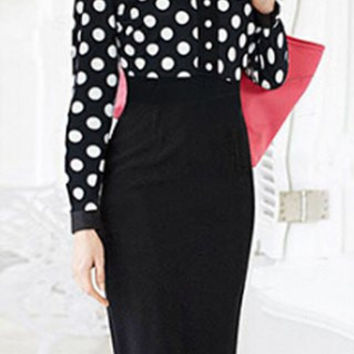 Black Polka Dot Long Sleeve Bodycon Dress