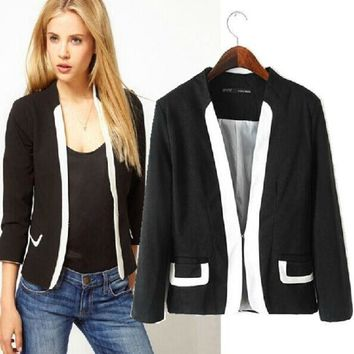 PEAPIX3 Stylish White Mosaic Slim Three-quarter Sleeve Blazer Women's Fashion Tops Jacket [4919049156]