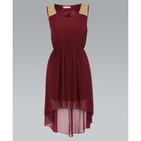 Wine Sleeveless Hi-Lo Chiffon Dress with Sequin Shoulders