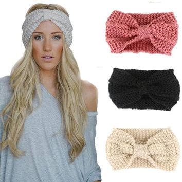 Crochet Headband Knit Bow