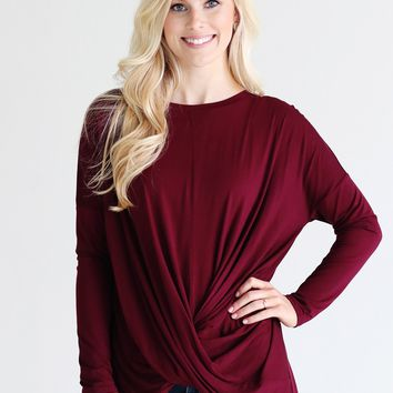 Burgundy DLMN Long Sleeve Twist Top