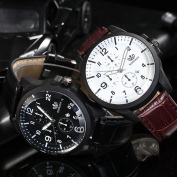 Business Men Watch Quartz Analog Leather Digital Calendar Round Wrist WatchBusin