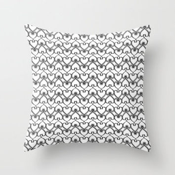 Heart knit pattern 02 Throw Pillow by VessDSign | Society6