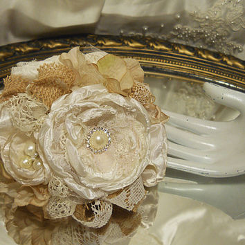 "Burlap Cake Topper, handmade, ivory, beige, country burlap, pearls, rhinestones, lace. Fits a 6"" round. ""Ready to Ship"""
