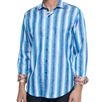 Endless Lagoon Striped Sport Shirt,