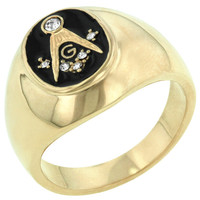 Onyx Cubic Zirconia Masonic Ring