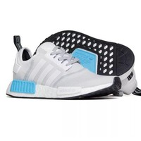 Adidas NMD R1 Runner Nomad Boost White Bright Cyan Blue Mens S31511 Size: 8
