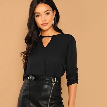Black Cut Out Neck Long Sleeve Top Solid Minimalist Blouse Casual Women Tops And Blouses Roll Up Tops