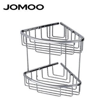 JOMOO Brass Chrome bathroom corner shelf basket Bathroom Shelves holder wall mounted Shower Shampoo Soap Cosmetic Accessories