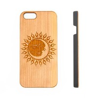 Sun and Moon Natural Wood Engraved iPhone 6s Case iPhone 6s plus Cover iPhone 6 5s 5 Real Wooden Case - Acyc