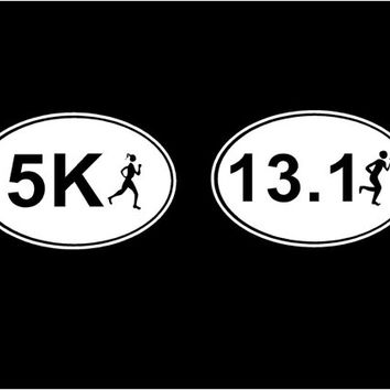 Marathon decal oval with runner car decals vehicle auto window decal custom vinyl sticker 5K 10K 13.1 26.2 0.0 marathon run