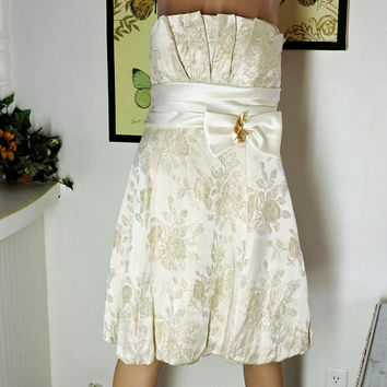 Gold / white brocade cocktail / wedding dress / size 8 / 10 / vintage 80s Betsy and Adam / strapless gold formal party dress