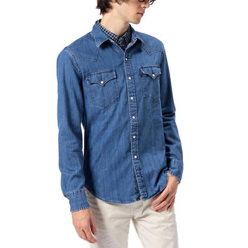 Levi's Mens Blue Chambray Pearl Snap Button Front Casual Western Shirt Size XXL
