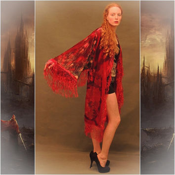 passion red hippie Gatsby peacock robe /silk velvet fringe kimono perfect for a Stevie Nicks concert, gypsy boho festival or just for you