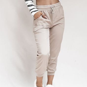 I Love You A Latte Mocha Tie Waist Joggers