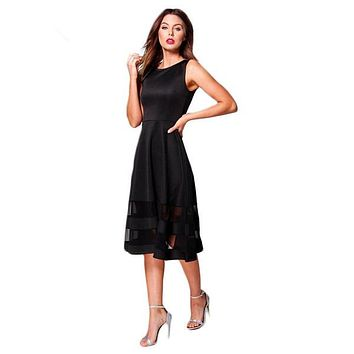 Solid Patchwork A-Line Dress Women Clothing Sleeveless Knee-Length Vestido Elegant Female Summer Lady Dress
