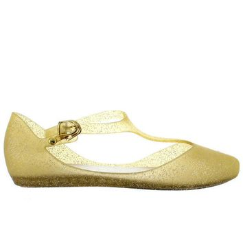 ONETOW Makers Mint 1 - Gold Glitter T-Strap Low Wedge Jelly