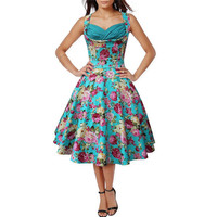 2016 Summer Floral Print Retro Dress Robe 50s Hepburn Vintage Rockabilly Dress Sexy Casual Party Dresses Swing Elegant Vestido