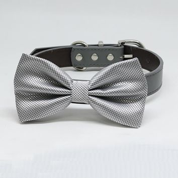 Silver Dog Bow Tie, Pet Wedding, Silver bow attached to dog collar