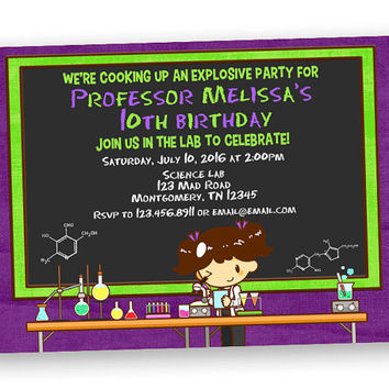 Purple Scientist Invitation - Crazy Chemistry Birthday Party - Lab Invitations - Beaker - Green Neon - Girl Scientist Invitation - Custom
