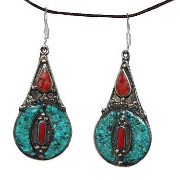 Turquoise coral Earring
