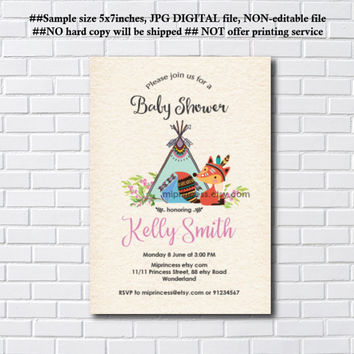 Teepee Fox baby shower, woodland baby shower invitation, Fox baby shower, boy baby shower invite, baby shower, baby girl shower- card 1056