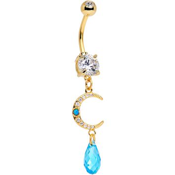 Handcrafted Clear Blue Gem Gold Tone Crescent Moon Dangle Belly Ring