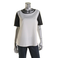 Annalee + Hope Womens Faux Leather Trim Short Sleeves Pullover Top