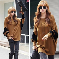 Womens Oversized Crew Neck Batwing Sleeve Long Loose T Shirt Tops Tee Blouse (Color: Coffee) = 1946581252
