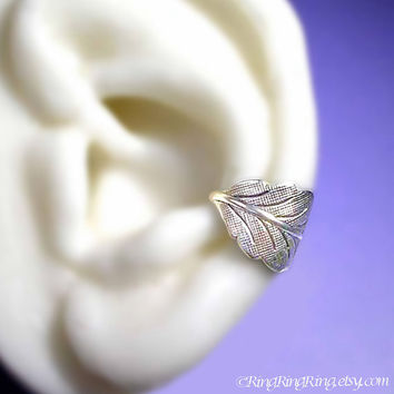 Detailed leaf sliver ear cuff earring jewelry  non by RingRingRing