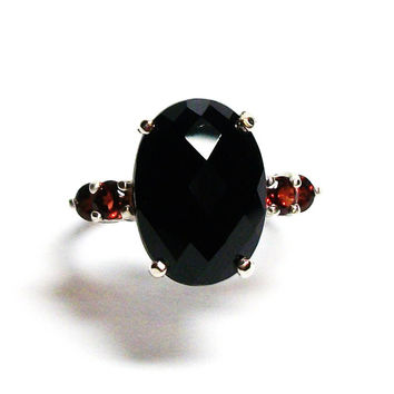 "Spinel, black spinel, accent ring, multi stone ring, black red, s 6 1/2  ""After Midnight"""