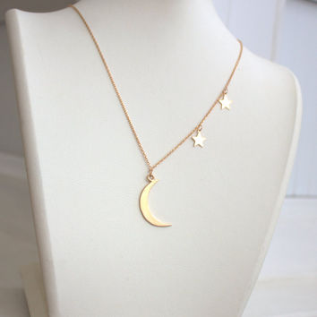 Rose Crescent and Star Necklace,Sterling moon, stars,gold moon,gold star,gold moon and star,Atlas Project