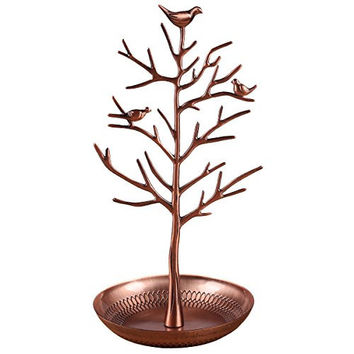 Inviktus Silver Birds Tree Jewelry Stand Display Earring Necklace Holder Organizer Rack Tower (Antique Bronze)
