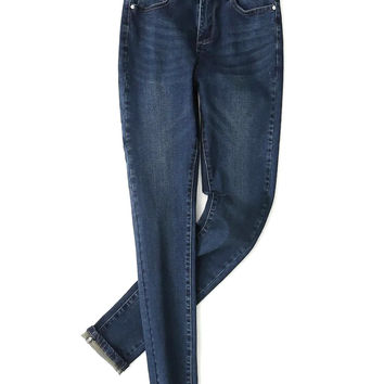 Dark Blue Washed Skinny Jeans