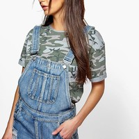 Tina Frayed Edge Denim Dungaree Shorts
