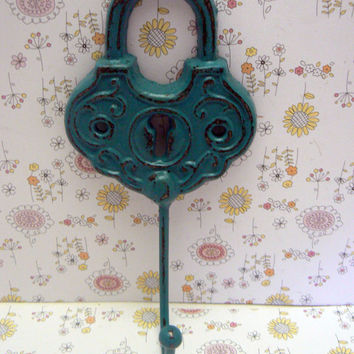 Padlock Shabby Style Chic Hook Jewelry Holder Lock Hook Lagoon Aqua Blue Leash Jewelry Coat Hat Keys Bathroom Towel Mudroom Nursery  Hook