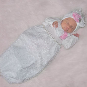 Coming Home Outfit, Take Home Outfit, Going Home Outfit, Layette, Newborn Nightgown, Newborn Dress, Baby Headband, Baby Shower Gift